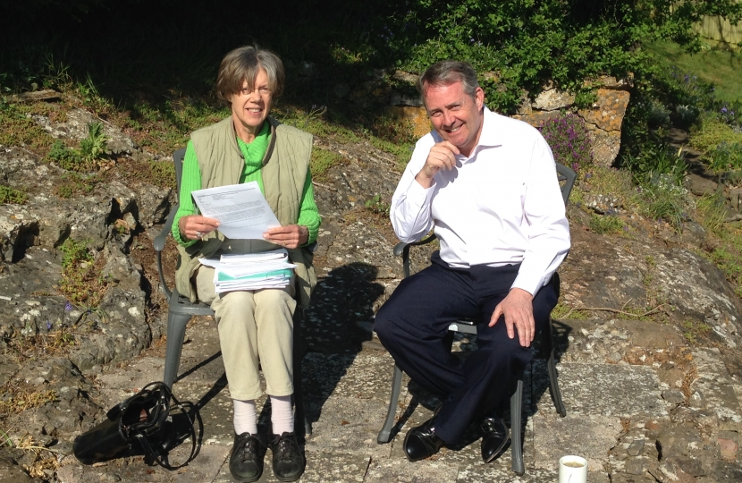 Ione Douglas and Dr Liam Fox MP, pictured in North Somerset